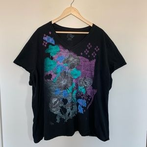 3/19🌽JMS Just My Size Graphic Floral Top T Shirt